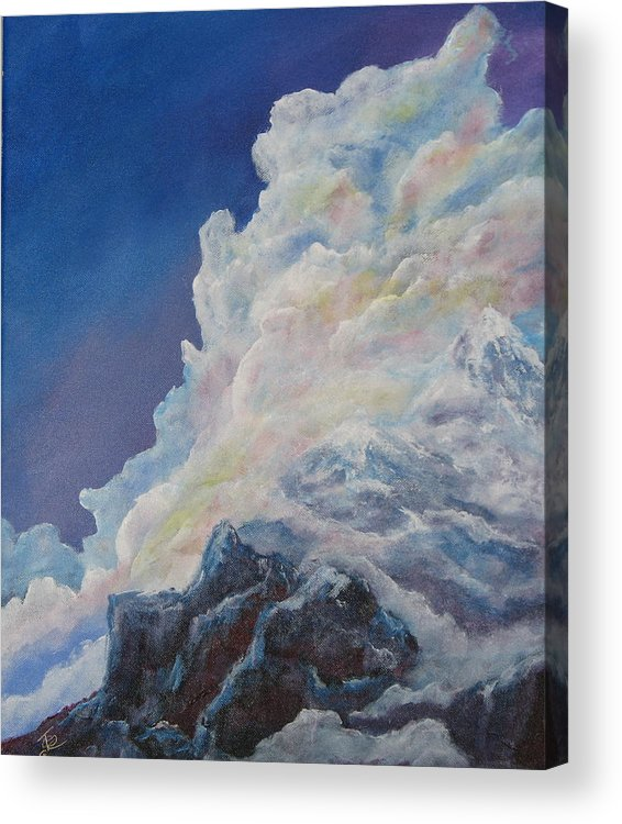 Landscape Acrylic Print featuring the painting Moutain In The Clouds by Thomas Restifo