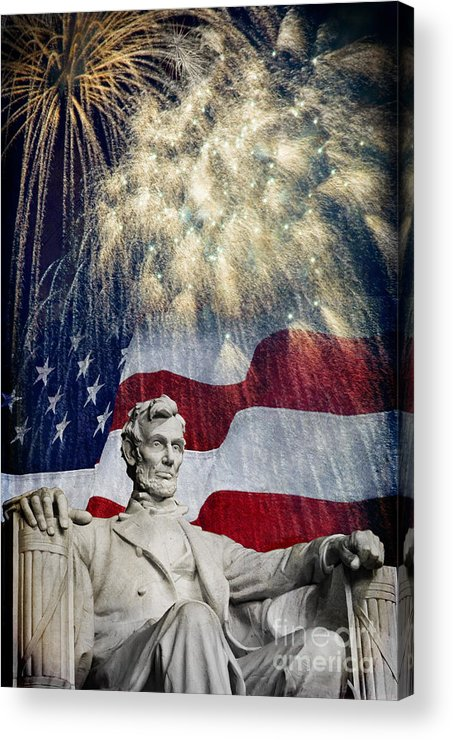 Lincoln Acrylic Print featuring the photograph Abraham Lincoln Fireworks by Michael Shake