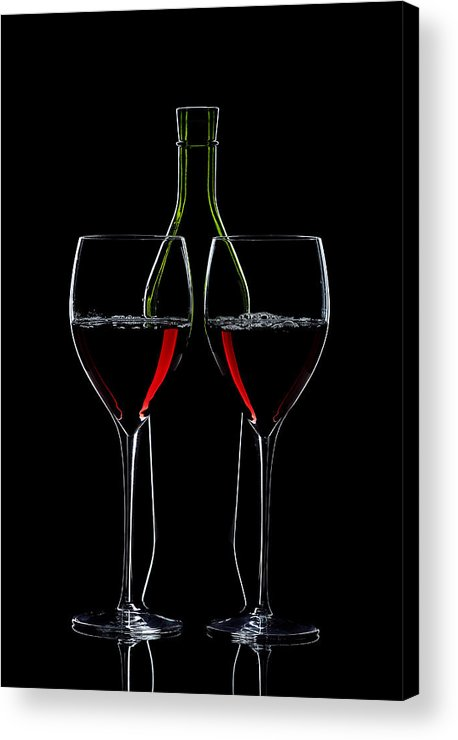 Wine Acrylic Print featuring the photograph Red Wine Bottle And Wineglasses Silhouette by Alex Sukonkin