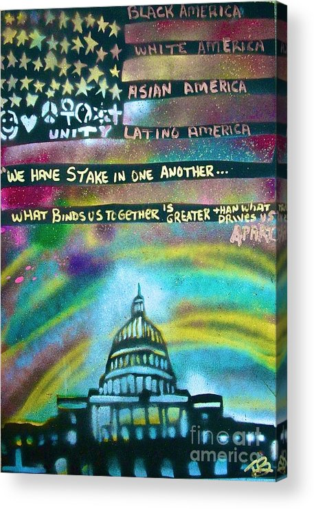 Barack Obama Acrylic Print featuring the painting American Rainbow by Tony B Conscious