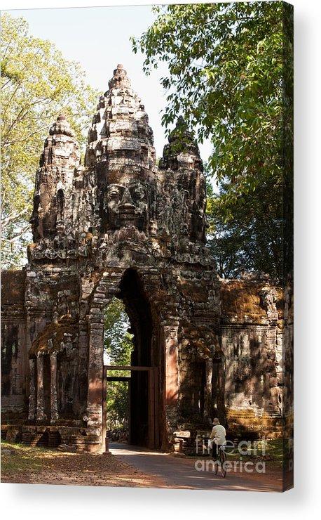 Angkor Acrylic Print featuring the photograph Angkor Thom North Gate 01 by Rick Piper Photography