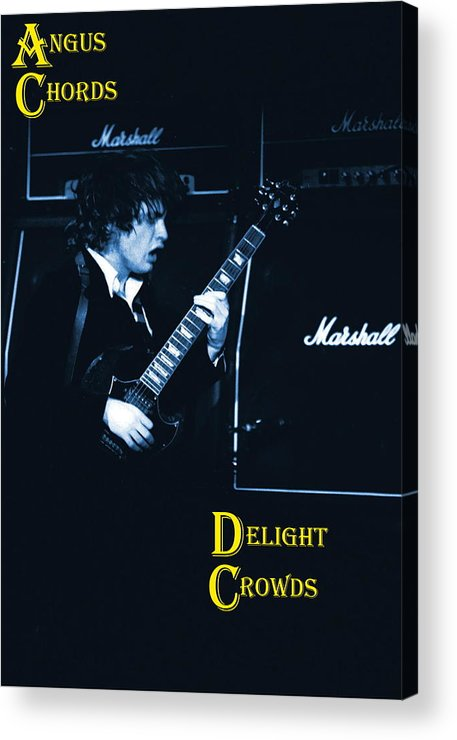 Angus Young Acrylic Print featuring the photograph Angus Chords Delight Crowds In Blue by Ben Upham