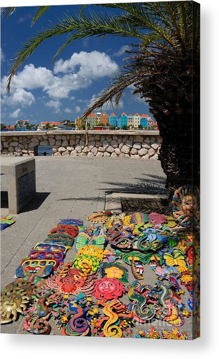 Willemstad Acrylic Print featuring the photograph Artwork At Street Market In Curacao by Amy Cicconi