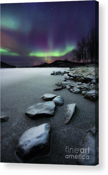 Aurora Borealis Acrylic Print featuring the photograph Aurora Borealis Over Sandvannet Lake by Arild Heitmann