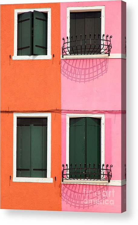 Burano Acrylic Print featuring the photograph Burano Pink And Orange by Inge Johnsson