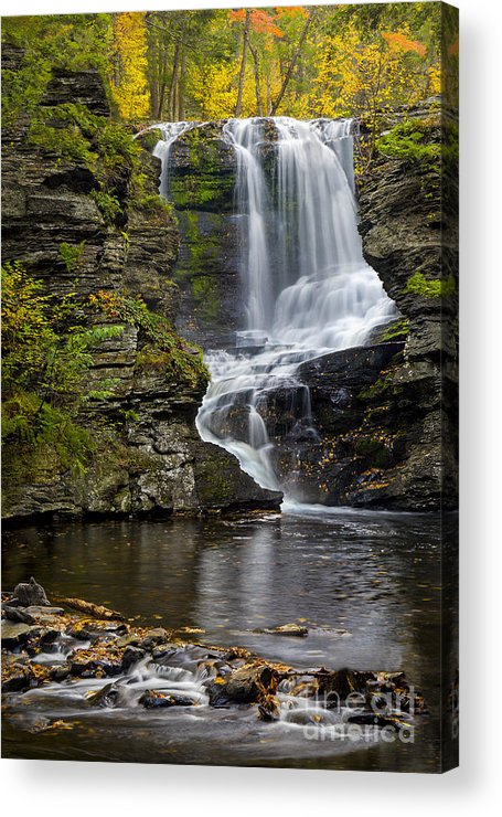 Waterfall Acrylic Print featuring the photograph Childs Park Waterfall by Susan Candelario