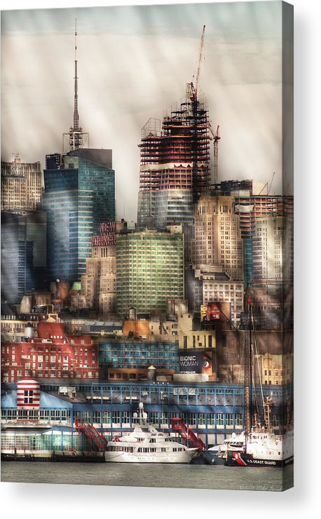 Savad Acrylic Print featuring the photograph City - Hoboken Nj - New York Skyscrapers by Mike Savad