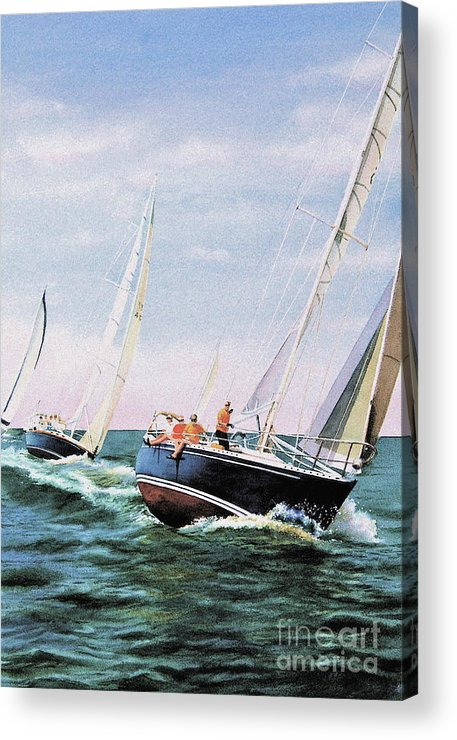 Sailboats Acrylic Print featuring the painting Conquistador Cup by Karol Wyckoff