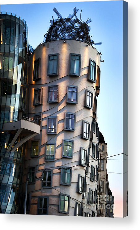 Prague Acrylic Print featuring the pyrography Dancing House In Prague by Jelena Jovanovic
