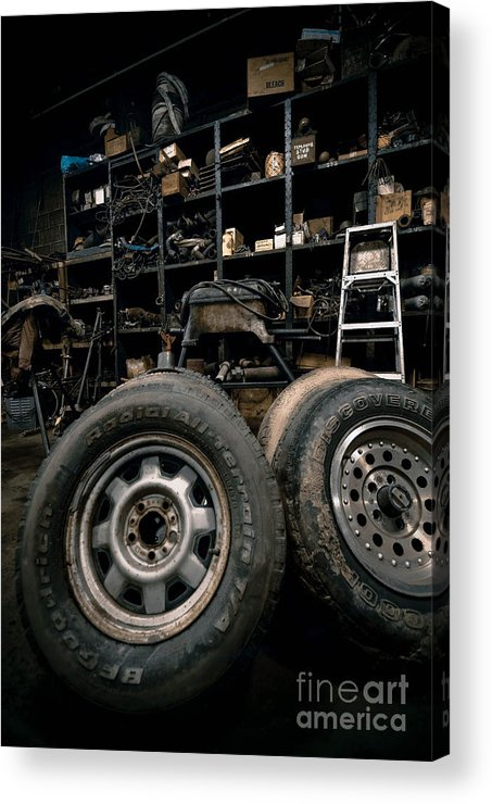 Equipment Acrylic Print featuring the photograph Dark Old Garage by Amy Cicconi
