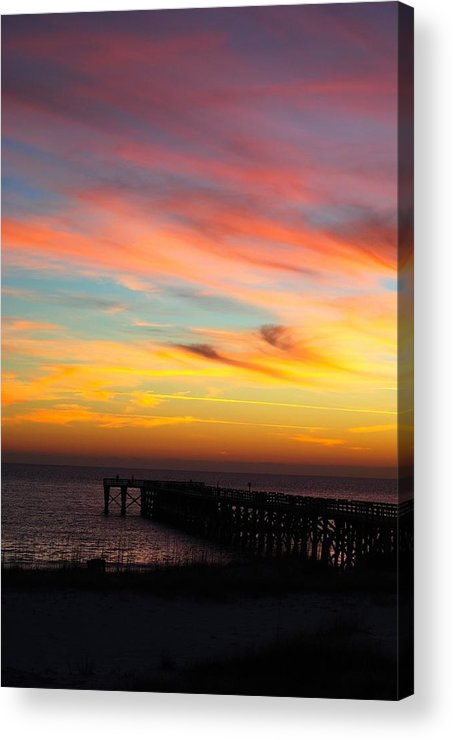 Ocean Acrylic Print featuring the pyrography First View by Madison Armstrong
