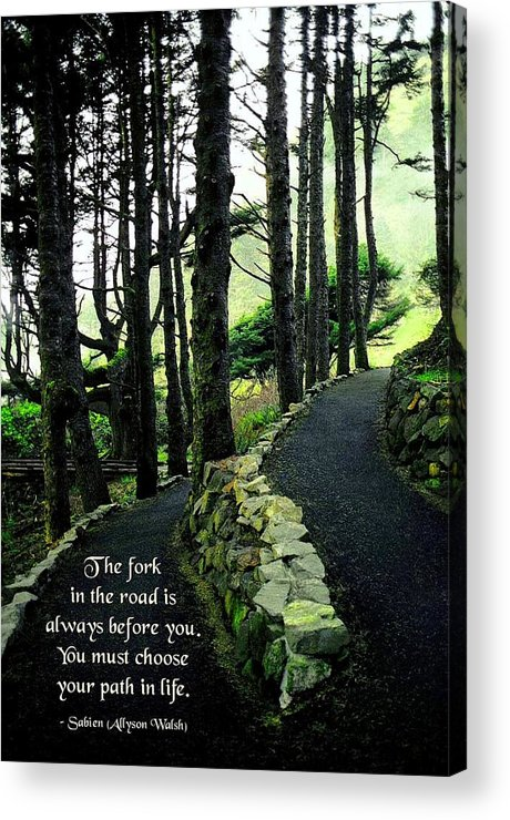 Quotation Acrylic Print featuring the photograph Fork In The Road by Mike Flynn