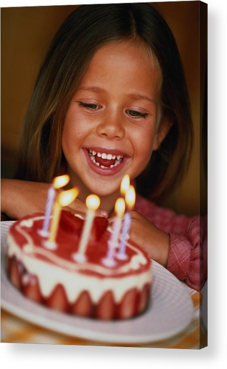 Caucasian Ethnicity Acrylic Print Featuring The Photograph Girl 6 Looking At Birthday Cake With