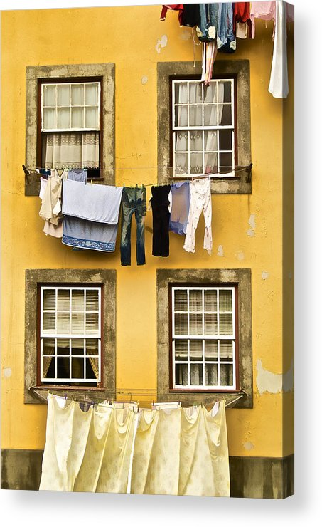 Art Acrylic Print featuring the photograph Hanging Clothes Of Old World Europe by David Letts