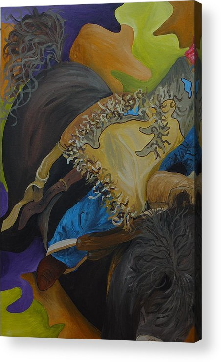 Horse Acrylic Print featuring the painting Hanging On by Karen Rester