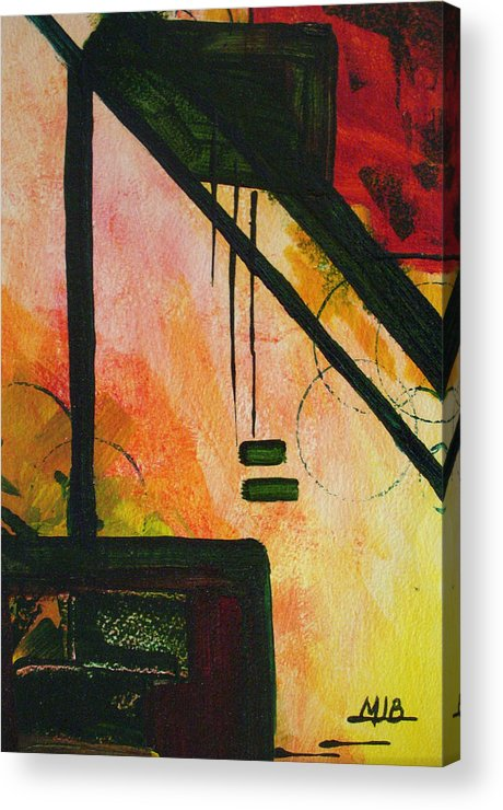 Abstract Geometric Red Yellow Black Oriental Acrylic Print featuring the painting In Balance by Jo Baughman