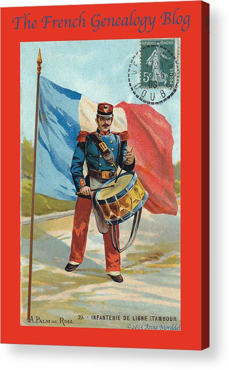France Acrylic Print featuring the photograph Infantry Of The Line Drummer With Fgb Border by A Morddel