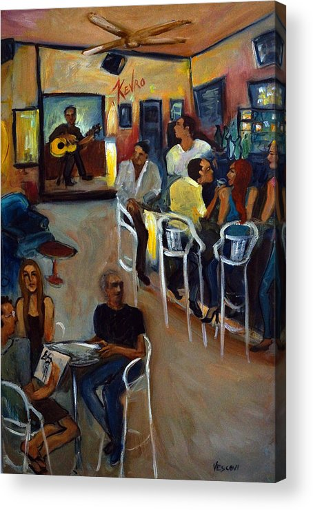 Art Bar Acrylic Print featuring the painting Kevro's Art Bar by Valerie Vescovi