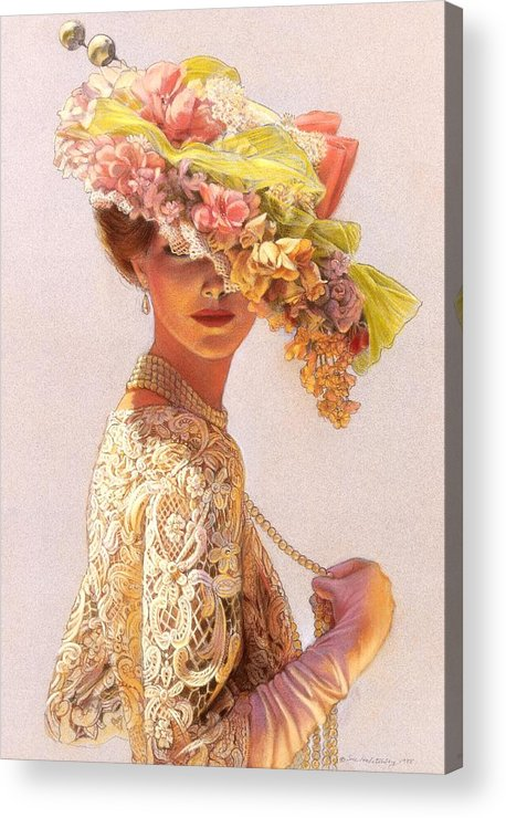 Portrait Acrylic Print featuring the painting Lady Victoria Victorian Elegance by Sue Halstenberg