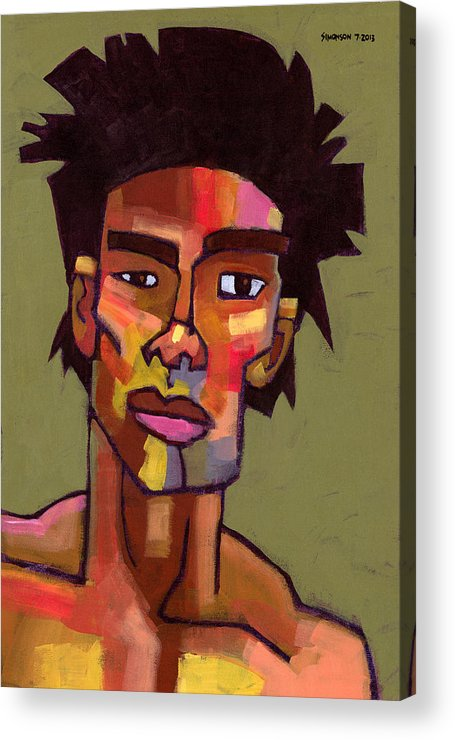 Portrait Acrylic Print featuring the painting Likes To Party by Douglas Simonson