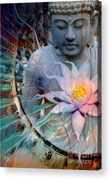 Buddha Acrylic Print featuring the painting Living Radiance by Christopher Beikmann