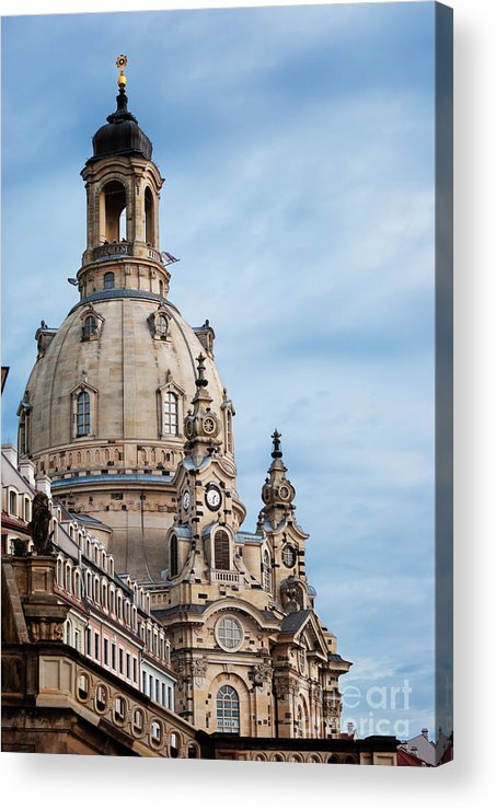 Dresden Acrylic Print featuring the pyrography Lutheran Church In Dresden by Jelena Jovanovic