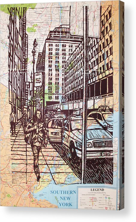 Nyc Acrylic Print featuring the drawing Manhattan On Map by William Cauthern