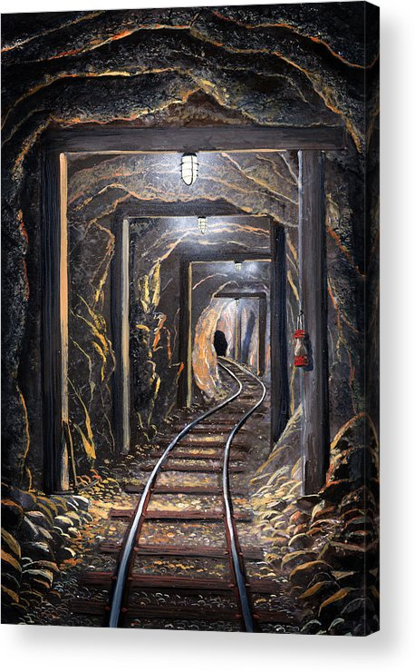 Mural Acrylic Print featuring the painting Mine Shaft Mural by Frank Wilson