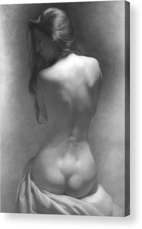 Acrylic Print featuring the drawing Model Against The Dark Background 2002 by Denis Chernov