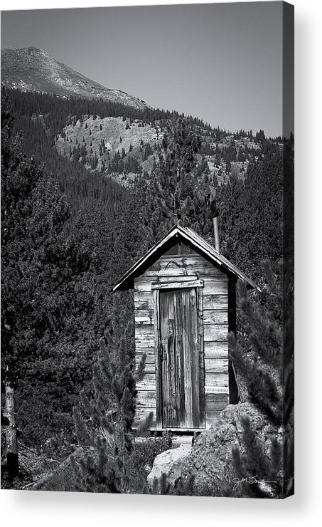 Outhouse Acrylic Print featuring the photograph Mountain Privy Bw by Julie Magers Soulen