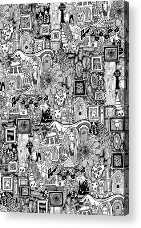 Ghost Acrylic Print featuring the drawing Nightmares by MGL Meiklejohn Graphics Licensing