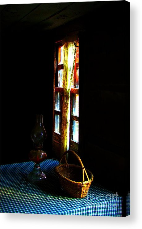 Cabin Acrylic Print featuring the photograph Old Cabin Table With Lamp And Basket by Julie Dant