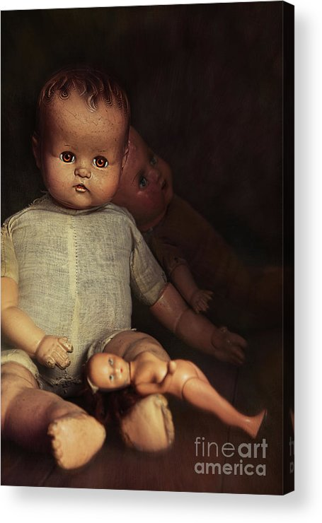 Atmosphere Acrylic Print featuring the photograph Old Dolls Sitting On Wooden Table by Sandra Cunningham