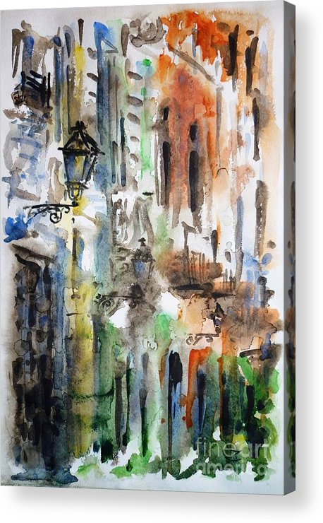 Old Acrylic Print featuring the painting Old Houses Of San Juan by Zaira Dzhaubaeva