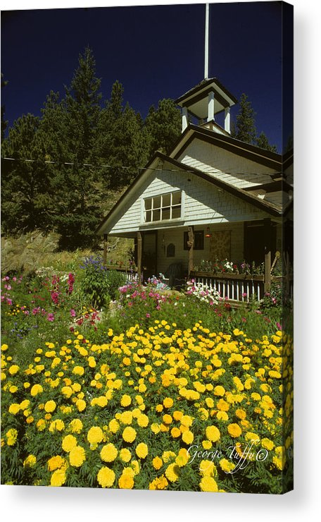 Old Schoolhouse Acrylic Print featuring the photograph Old Schoolhouse And Garden. by George Tuffy