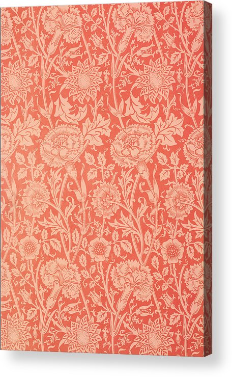 Pattern Acrylic Print featuring the tapestry - textile Pink And Rose Wallpaper Design by William Morris