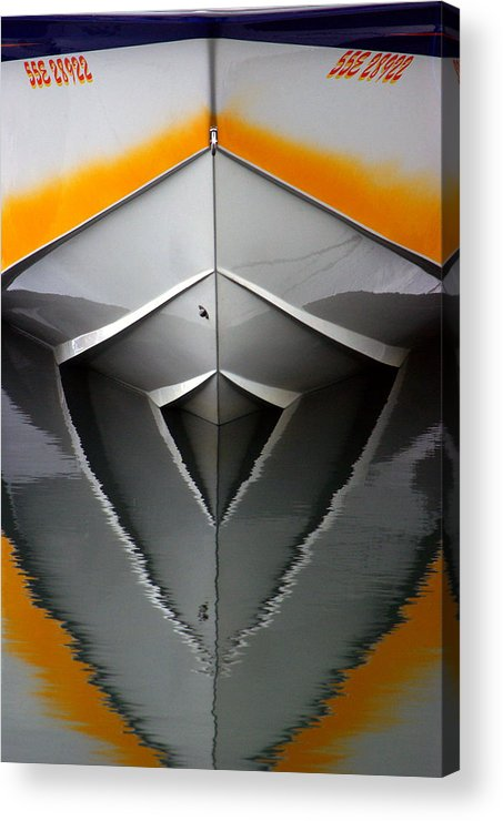 Boat Acrylic Print featuring the photograph Pointy End Reflection by Paul Wash