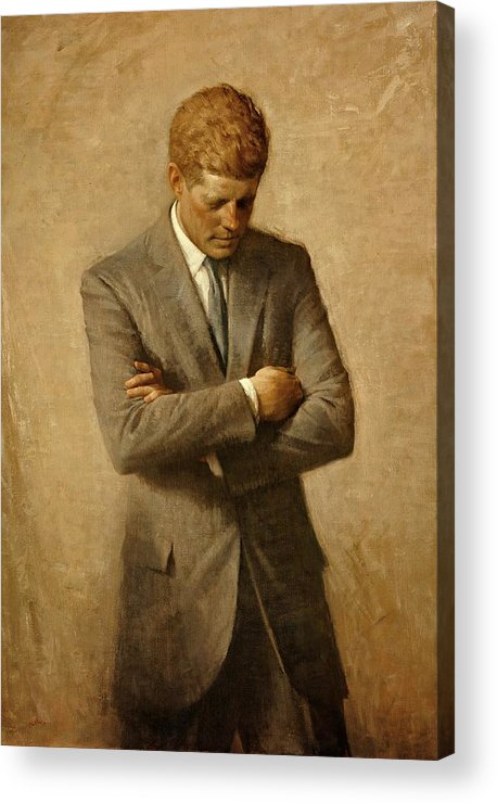 Kennedy Acrylic Print featuring the painting President John F. Kennedy Official Portrait By Aaron Shikler by Movie Poster Prints