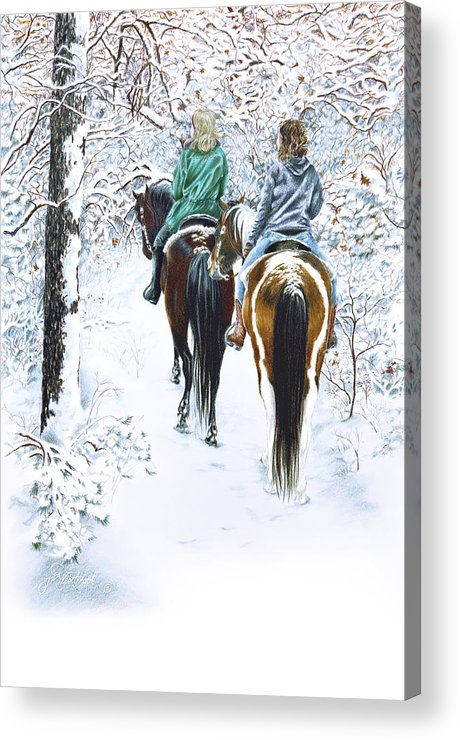Snow Acrylic Print featuring the drawing Ride Into Faerieland by Jill Westbrook