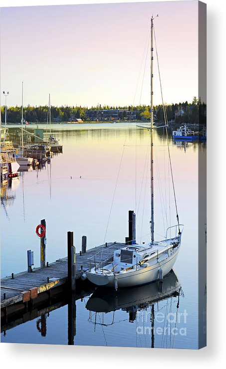 Boat Acrylic Print featuring the photograph Sailboat At Sunrise by Elena Elisseeva