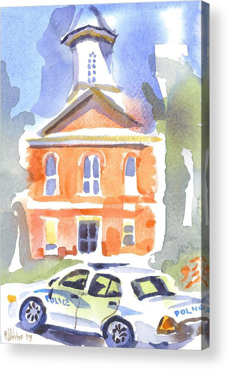 Stately Courthouse With Police Car Acrylic Print featuring the painting Stately Courthouse With Police Car by Kip DeVore