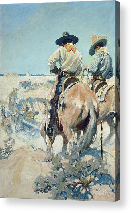 Horse Acrylic Print featuring the painting Supply Wagons by Newell Convers Wyeth