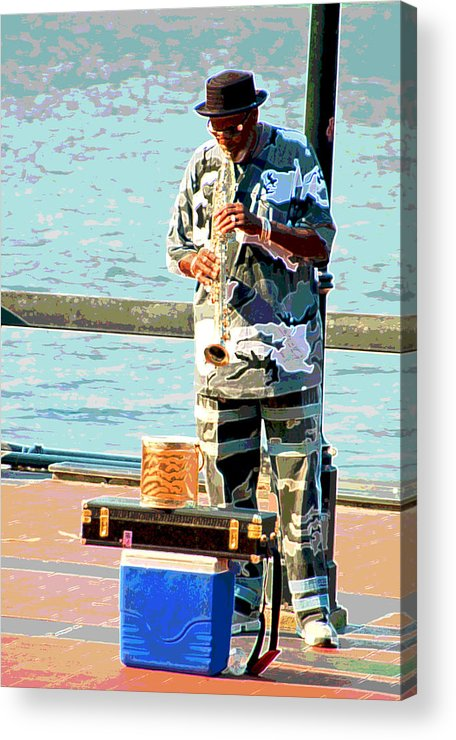 Soprano Saxophone Acrylic Print featuring the photograph The Music Man by Suzanne Gaff