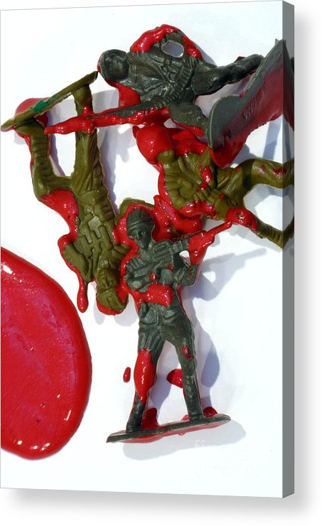 Aggression Acrylic Print featuring the photograph Toy Soldiers In A Pool Of Blood by Amy Cicconi
