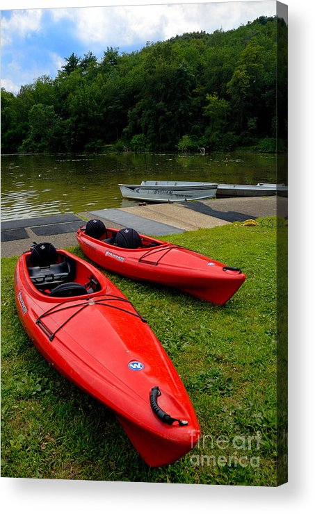 2 Seat Acrylic Print featuring the photograph Two Red Kayaks by Amy Cicconi