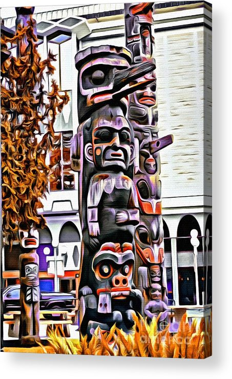 Totem Pole Acrylic Print featuring the photograph V.i. 0109 by Charles Cunningham