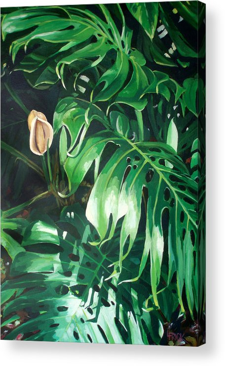 Tropical Acrylic Print featuring the painting Waipeo Green by Lisa Frick