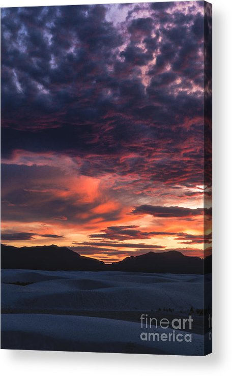 White Sands Acrylic Print featuring the photograph White Sands Sunset by Sandra Bronstein