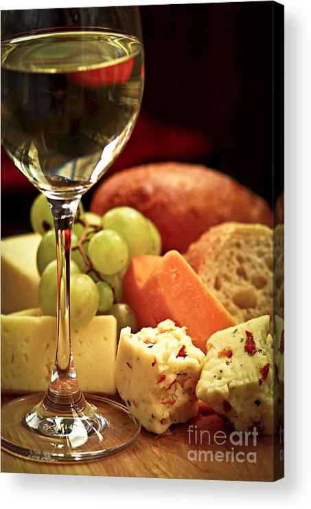 Cheese Acrylic Print featuring the photograph Wine And Cheese by Elena Elisseeva