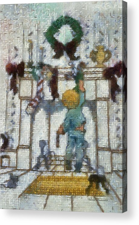 Stocking Acrylic Print featuring the photograph Xmas Little Boy With His Stocking Photo Art by Thomas Woolworth